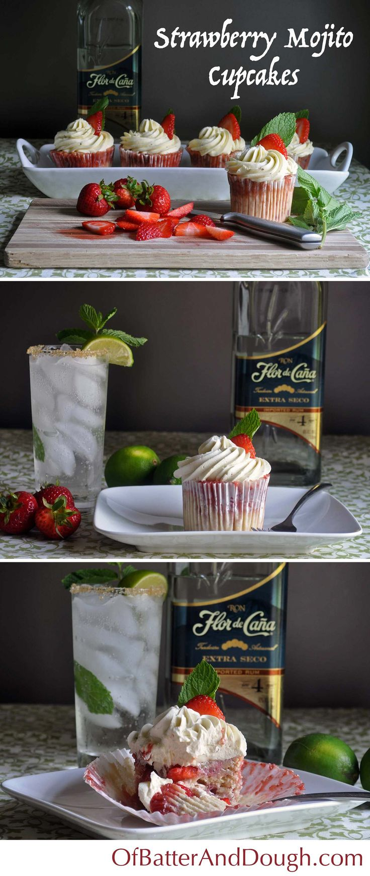 Incredibly moist strawberry mojito cupcakes infused with fresh mint and rum, iced with Mojito Italian Meringue Buttercream.