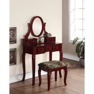 Shop for Ashley Wood Cherry Makeup Vanity Table and Stool Set. Get free delivery at Overstock.com - Your Online Furniture Store! Get 5% in rewards with Club O! - 17882393