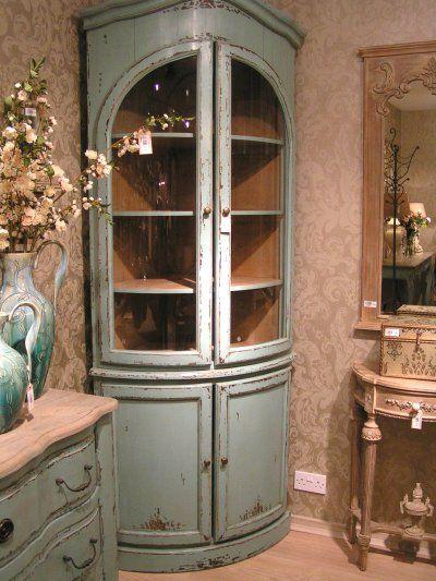 Coach House Etienne French Aquamarine Blue Glazed Corner Cupboard