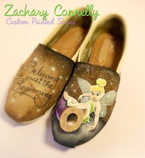 Want and need these Toms ~ Disney\'s Tinkerbell Toms Shoes by ZacharyConnellyArt on Etsy