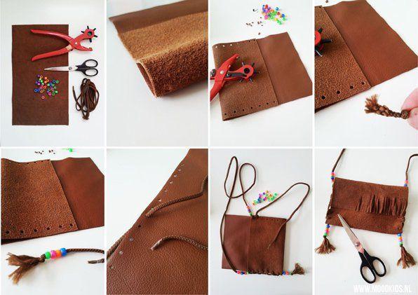 indianen tasje maken stap voor stap. Leuk voor een kinderfeestje! www.moodkids.nl/indianen