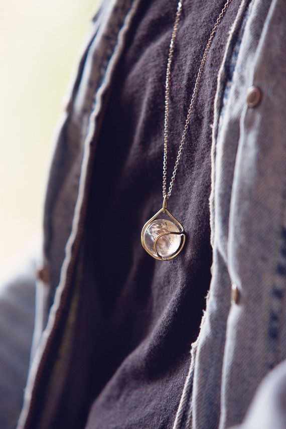 quartz crystal sphere oracle crystal pendant by HeavyMeadowDesign