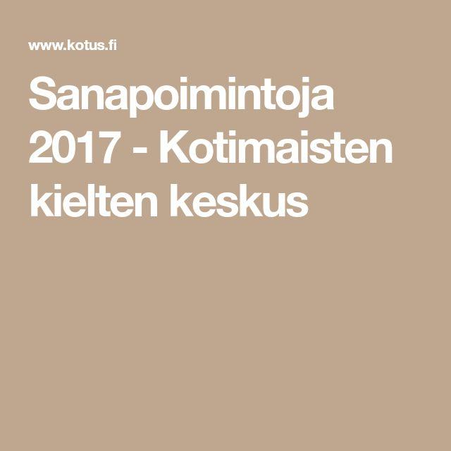 Sanapoimintoja 2017 - Kotimaisten kielten keskus