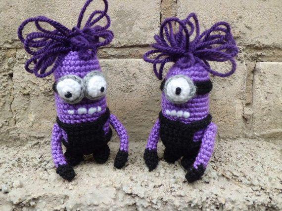 Crochet Evil Minion Purple Minion Crocheted Angry by FunnyAmiToys