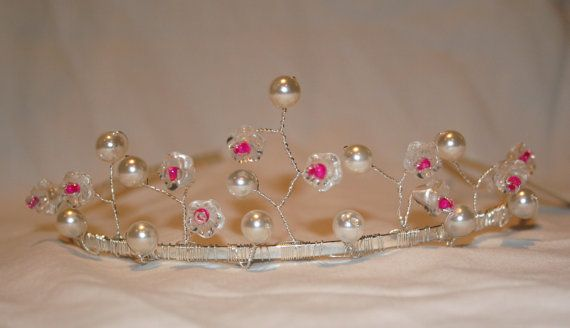 Pink, Clear Flower and Pearl Beaded Tiara