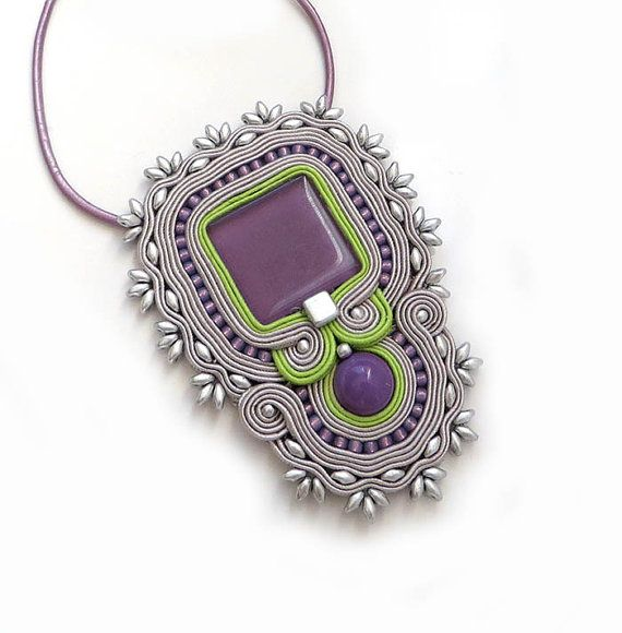 Indian grey purple necklace soutache OOAK statement by sutaszula