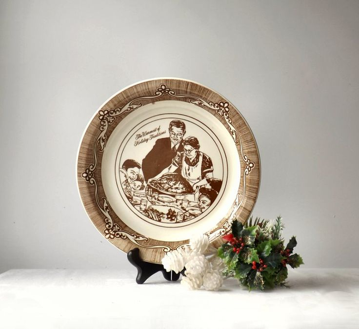 Vintage Ceramic Pie Plate, Norman Rockwell's Freedom From Want, Brown and White Baking Pan by MomsantiquesNthings on Etsy