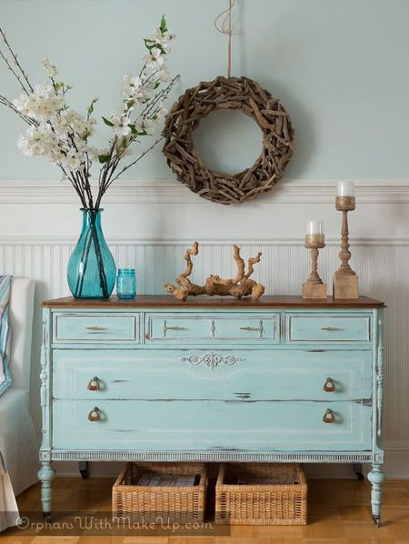 Applying a distressed look to chalk painted furniture is super easy. After painting, use a medium sanding sponge or 150-grit sandpaper to lightly rub the paint back to reveal the wood below. Once you are satisfied with the look you can apply the Top Coat or Antique Wax.