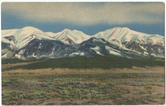 St Luis Valley Co Mt Sierra Blanca Vintage Postcard Colorado Linen