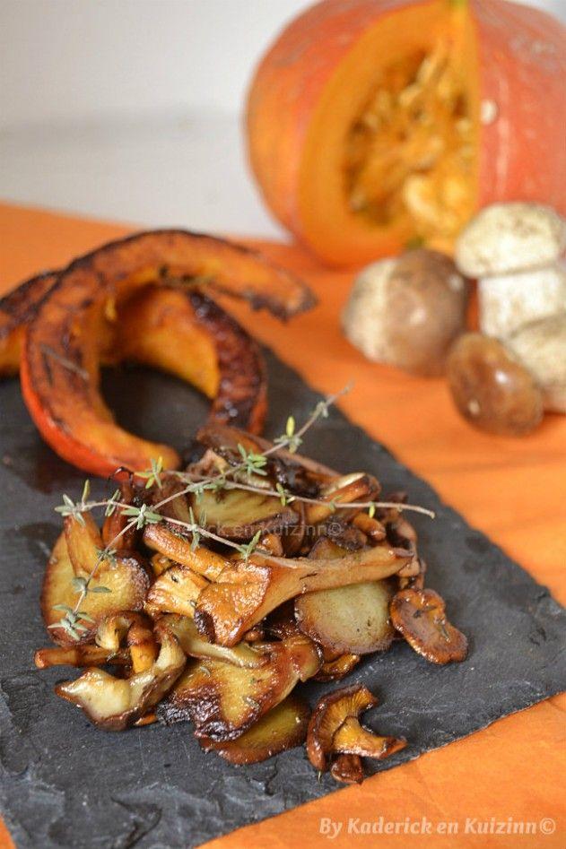 Cuisson des tranches de potimarron rôties et poêlée de cèpes - Kaderick en Kuizinn©