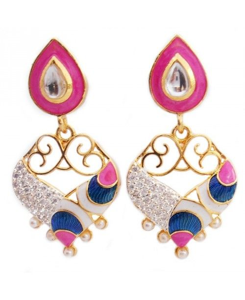 Elegant colourful Meena kundan cum AD stone danglers