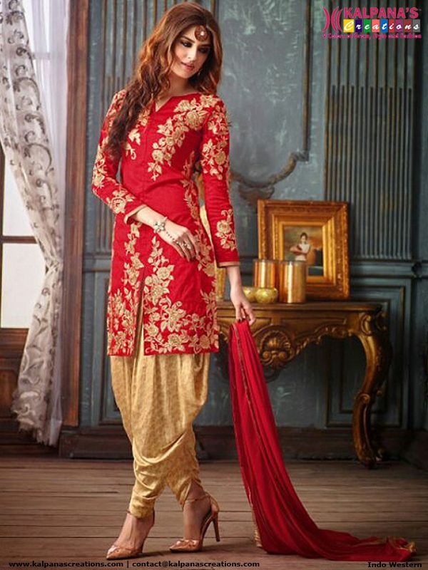 15031be1253 Red and Gold Designer Patiala Suit