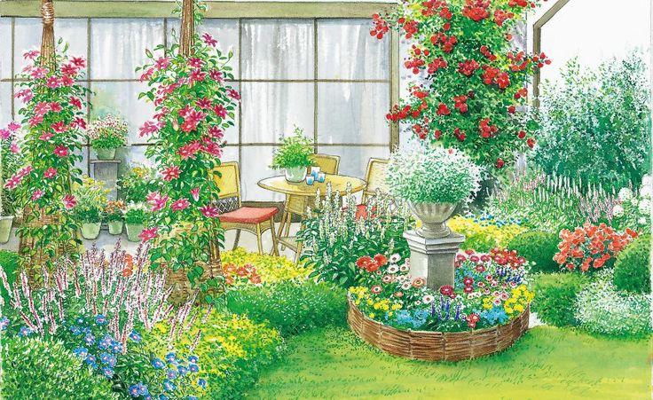 Die geschwungene Rabatte schafft einen schönen Übergang zwischen Terrasse und Garten