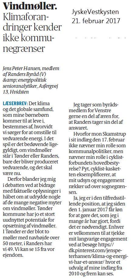 Respons på, at vindmøllemodstandere i Tønder ikke brød sig om, at jeg bidrager til debatten med faktuelle informationer.