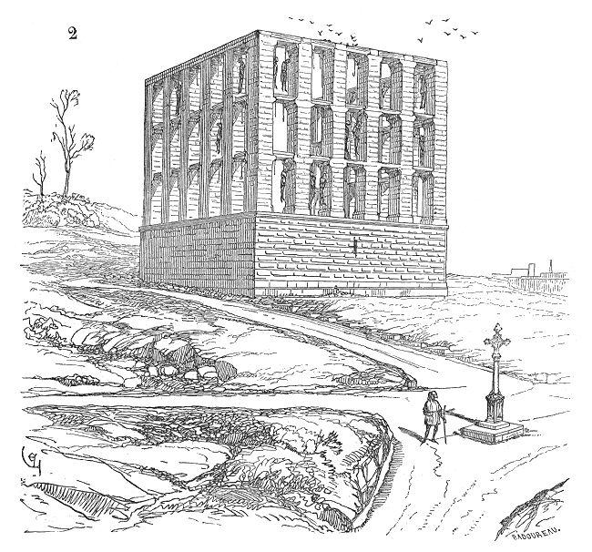 Fourches.patibulaires.Montfaucon - Gibet de Montfaucon — Le gibet de Montfaucon, surnommé « Fourches de la grande justice », était le principal gibet des rois de France jusqu'à Louis XIII, érigé à quelques mètres de l'actuelle place du Colonel-Fabien, à Paris.