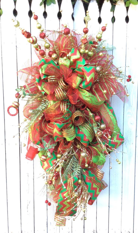 Christmas Wreath, Christmas Swag, Large Christmas Wreath, Large Christmas Swag, Whimsical Christmas Wreath, Christms Mesh Wreath, Mesh swag by Keleas on Etsy https://www.etsy.com/listing/213855729/christmas-wreath-christmas-swag-large