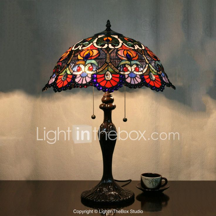 Flower Pattern bordlampe, 2 Light, Tiffany Zinc Alloy Glass Painting 858501 2017 – kr.1.537
