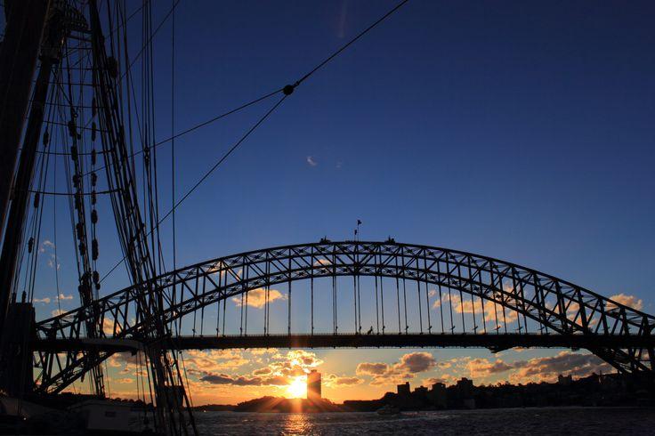 Sunset on Sydney Harbour ft Sydney Harbour Bridge  http://www.flickr.com/photos/ajstarr/