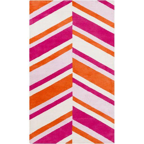 Abigail Chevron Rug in Bright Pink and Orange