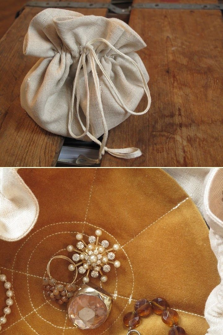 DIY: jewelry pouch. To go a little further... make pouches inside for earings, etc. to keep everything more organized.