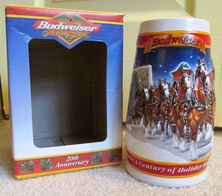 1999 BUDWEISER HOLIDAY BEER STEIN - A CENTURY OF TRADITION With Box and COA