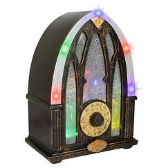 This one is really fun in person!  Ads from Witches, and Vampires, etc.  Lights blink.  Halloween Haunted Vintage Radio