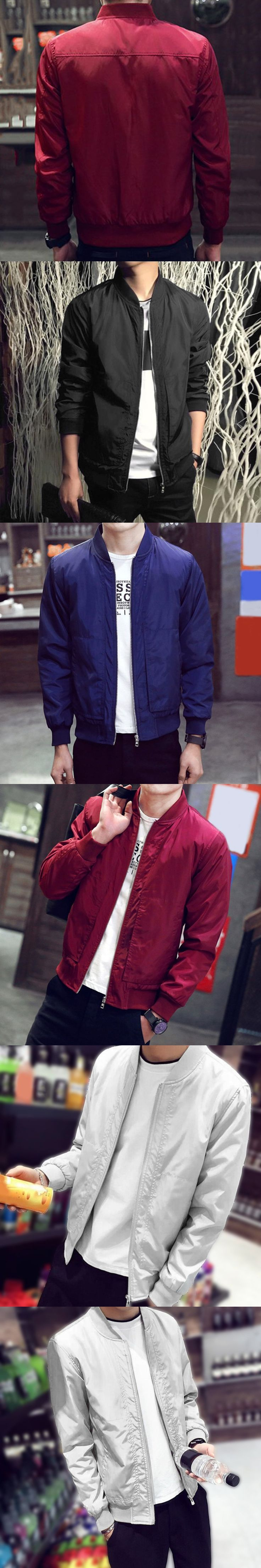 2017 New Spring Autumn Men's Jackets Thin Solid Fashion Short Coats Male Casual Slim Stand Collar Bomber Jacket Men Overcoat 4XL