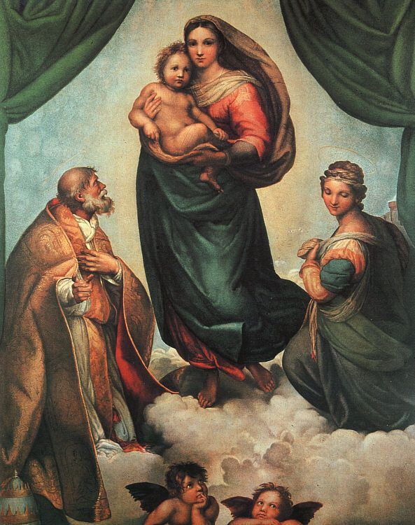 Sistine Madonna | Raphael | 1513-14 | oil on canvas | 104 3/8 x 77 1/8 in / Gemaldegalerie, Dresden, Germany