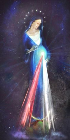 I like to think of this depicting Mary, the arch of Christ's Divine Mercy... Even before he was born, Christ was offering us his Divine Mercy.