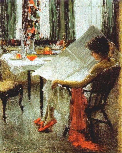 1915Helen M.Turner[American Impressionist Painter, 1858-1958] ~ Morning News [Journal da manhã]