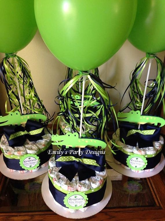 Alligator Baby Shower Diapers Centerpiece with Balloon Navy Blue/Lime Green, Baby Shower Centerpiece.