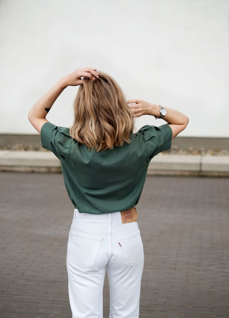 white levis and a linen shirt