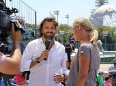getty images henri leconte us open 2015   TV consultants for Eurosport Henri Leconte and Barbara Schett comment ...