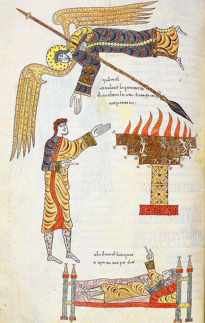 """Daniel and the angel"", Jerome, Commentary on Daniel, in ""Beatus de Liebana; 'Silos Apocalypse'"", fol-245v, London British Library - Add. MS 11695, Northern Spain, c.1100"