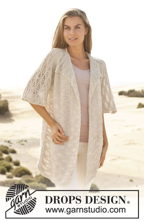 Pair this jacket with strappy flats and skinny jeans for a night of shoreside romance. Free pattern from #garnstudio #knitting