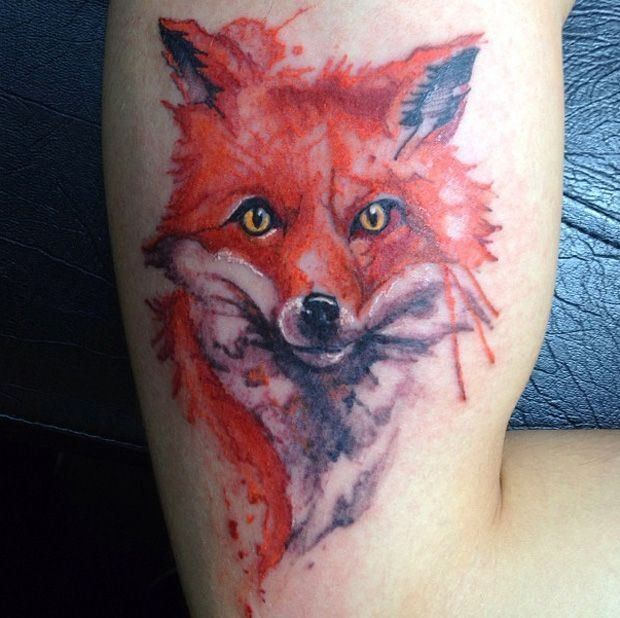 red fox watercolored ink-f00288.jpg (620×618)