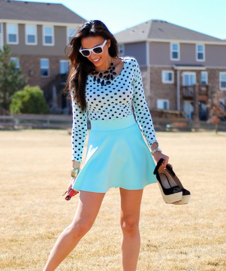 Blogger BFF Iman shows us the meaning of fun with her flirty spring #OOTD featuring a Charlotte Russe mint skater skirt! See more of her outfit on her blog - Personal Style by Iman Oubou