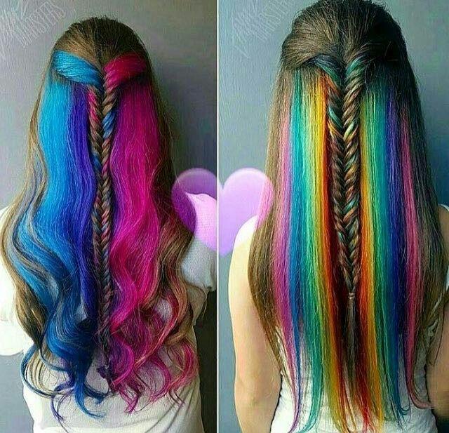 trecce e  ciocche arcobaleno