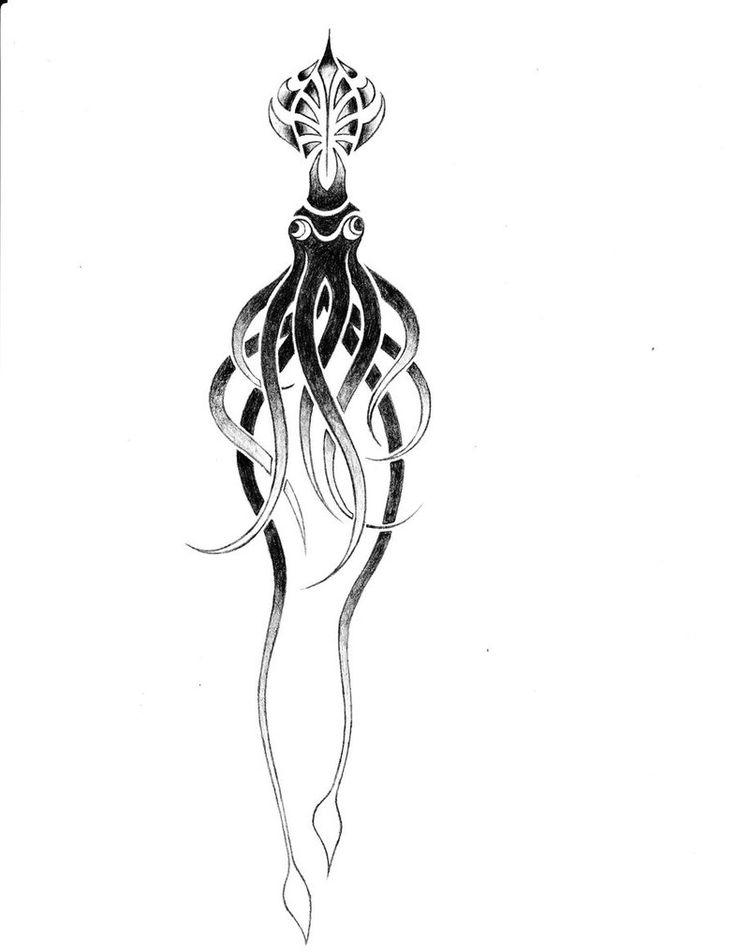 Tribal Squid tattoo design by jaredputnam