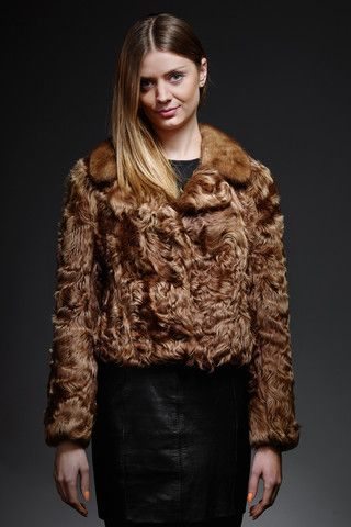 caramel goat fur jacket with mink collar – horovitz
