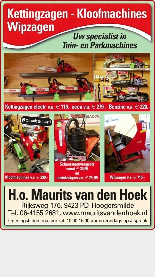 Afgelopen donderdag nog even bijgepraat met Maurits van den Hoek van Handelsonderneming Maurits van den Hoek. Handelsonderneming Maurits van den Hoek is gespecaliseerd in in- en verkoop van tuin- en parkmachines en aanverwante artikelen. Tevens verrichten zij reparaties, onderhoud en revisie in eigen werkplaats. Producten zijn op afspraak af te halen of kunnen bezorgd worden door heel Nederland. http://koopplein.nl/middendrenthe/gebruikers/91713/handelsonderneming-maurits-van-den-hoek