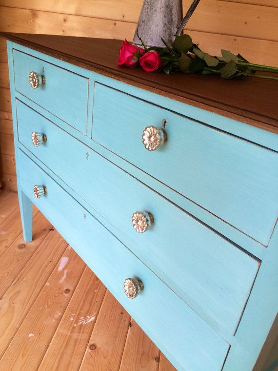 VINTAGE CHEST Of DRAWERS in Solid Mahogany Hand Painted in a Turquoise Mix of Annie Sloan Chalkpaint with a Walnut Stained Top