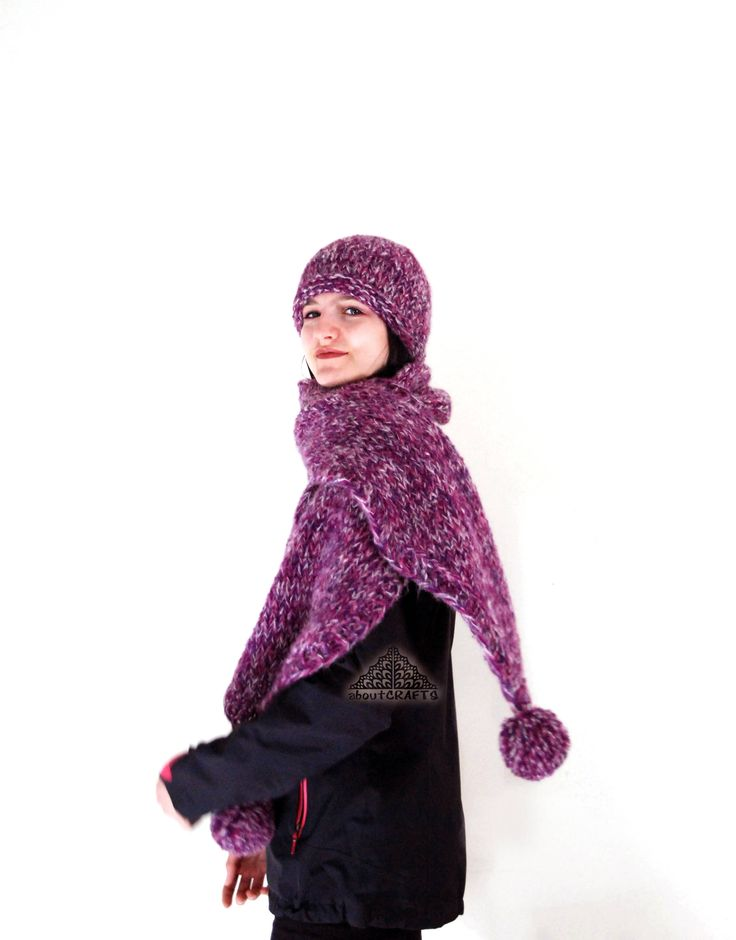 Hat and scarf set, Pom pom scarf, Winter, Women, Pink, Purple, Scarf, Oversized scarf knit, Handknit scarf, Beanie hat, Gift for daughter by aboutCRAFTS on Etsy