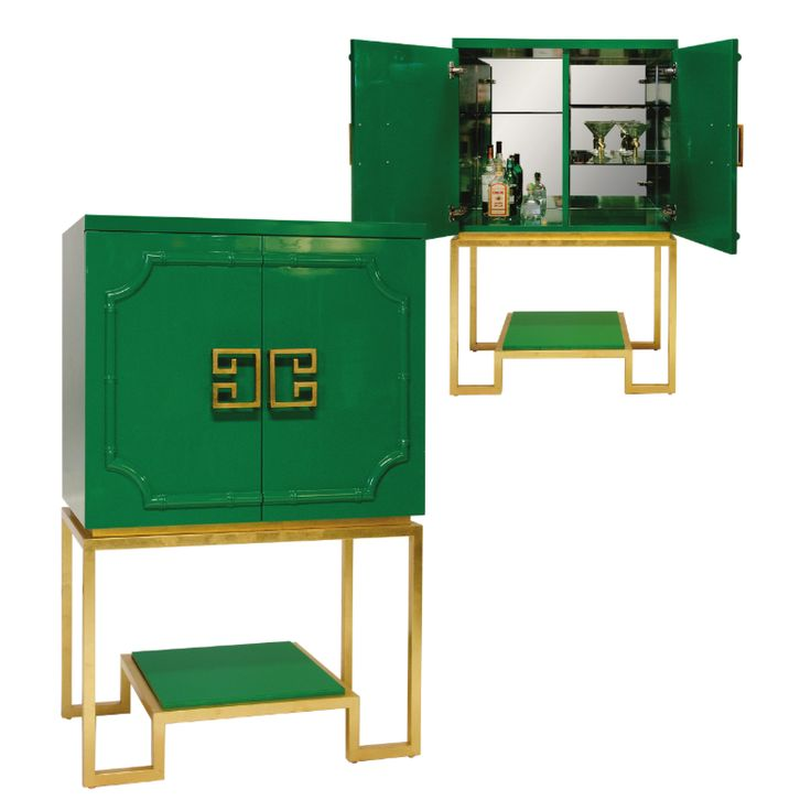 How stylish is the Anna green lacquer #bar #cabinet with #gold #leaf base?! @Jan Wilke Away has a ton of new product, be sure to check'em out! IH411 #HPMKT