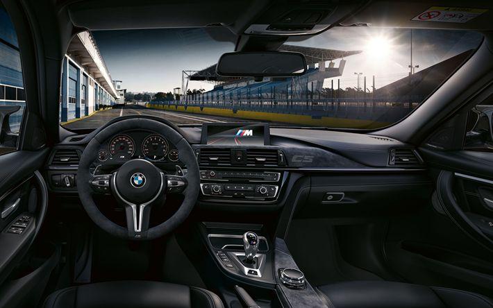 Download wallpapers BMW M3 CS, 2018 cars, german cars, F80, dashboard, interior, new M3, BMW