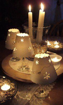 Claralesfleurs - Lampes d'ambiance et centre de table pour le nouvel an réalisé par moi-même.  Tuto pour les lampes sur verre à vin disponible dans mon tableau des tutoriels.