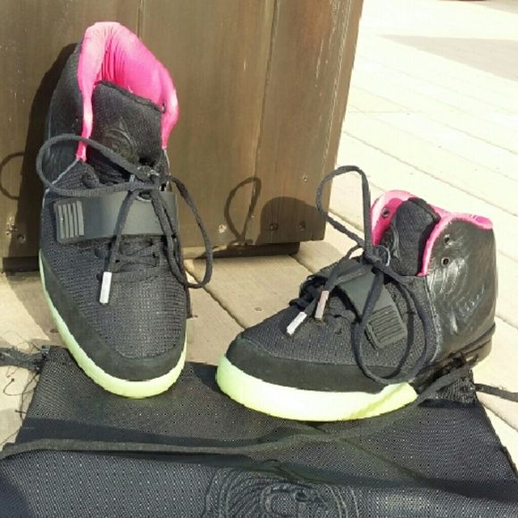 Selling this Nike Air Yeezys 2 Black Solar Red Size 9.5 in my Poshmark closet! My username is: micahgriffie. #shopmycloset #poshmark #fashion #shopping #style #forsale #Yeezy #Shoes