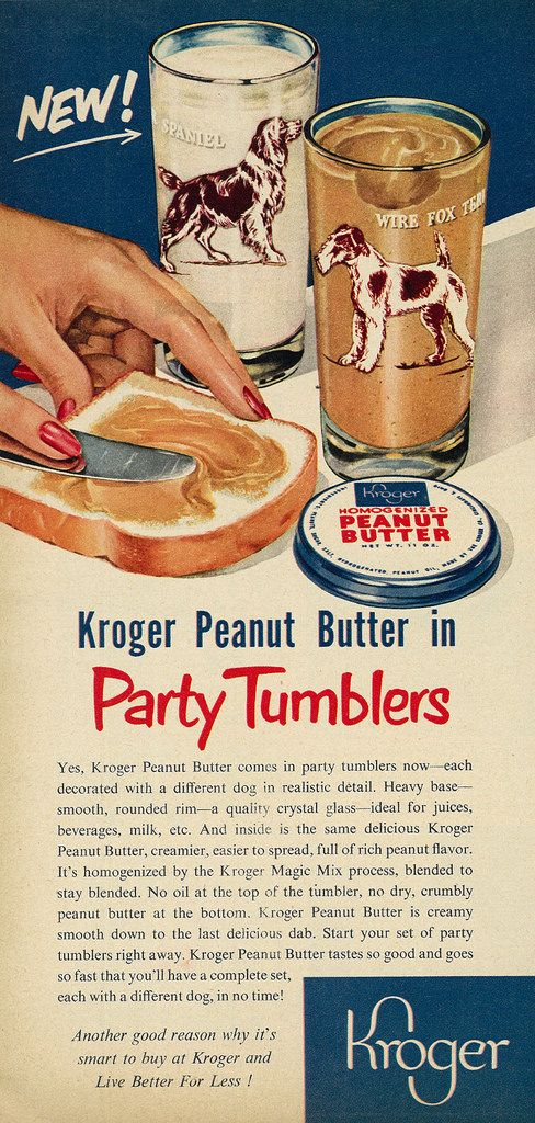 Illustrated 1952 Food Ad Kroger Peanut Butter In Party