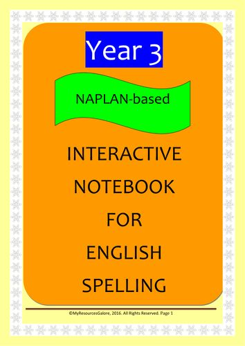 NAPLAN: Year 3 Interactive Notebook for English Spelling & Vocabulary