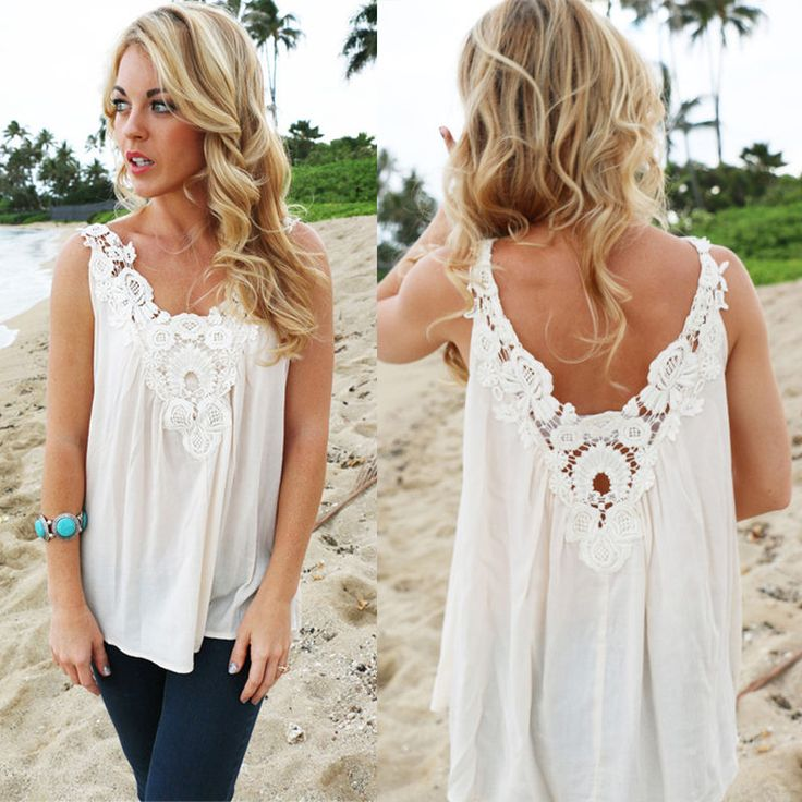 Women Sexy Summer V Back Vest Top Sleeveless Blouse Casual Lace Tank Top T-Shirt #Unbranded #BasicTee